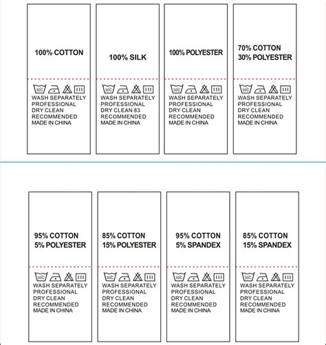 Garment Accessories Wash Care Labels Stock Component Printing Care Labels 100 Cotton 100 Wash Care Label Template