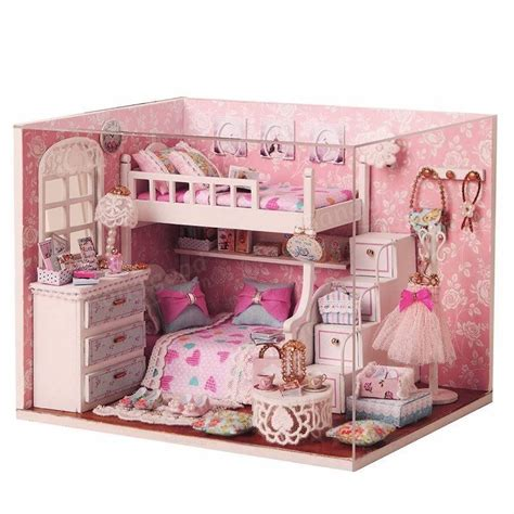 small doll house furniture cuteroom diy wood dollhouse kit miniature with furniture doll house room angel dream