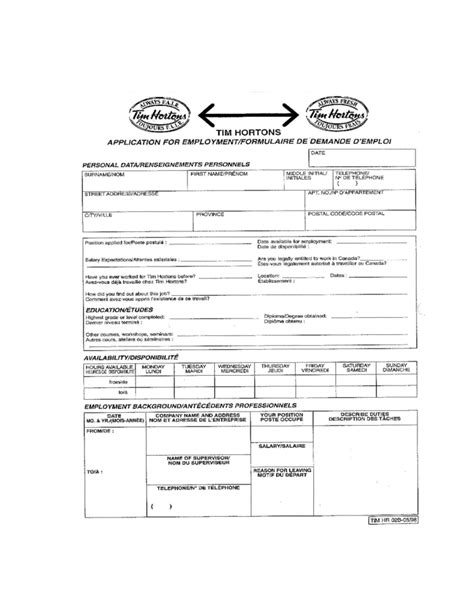 Resume Application Paper Tim Hortons Application For Employment Form Tim