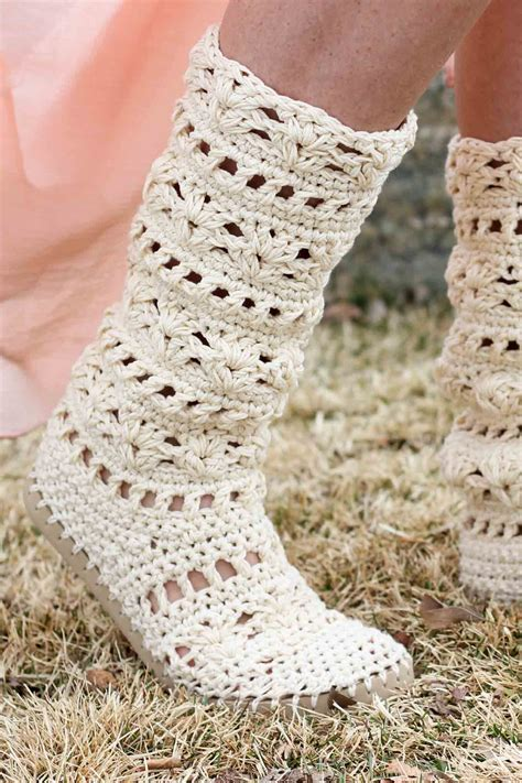 crochet boots lacy crochet boots pattern for adults made with flip flops