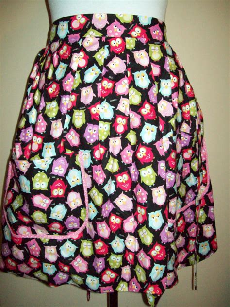 pattern for owl apron half waist apron colorful owl pattern on black background