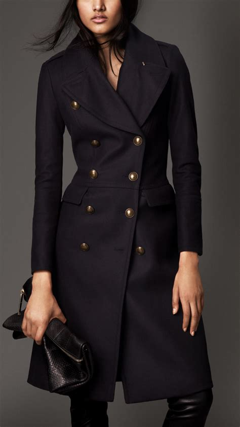 Csf Set Jaket Bulberry Navy Burberry Wool Blend Fitted Coat In Blue Lyst