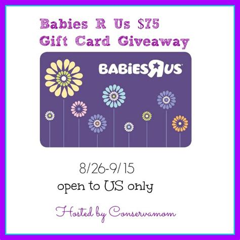Babies R Us Gift Cards - win a 75 babies r us gift card and a pack of pers wipes ends 9 15 15