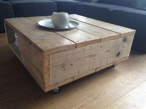 salontafel oak grey salontafel met opbergruimte 80x80 op wielen wood made