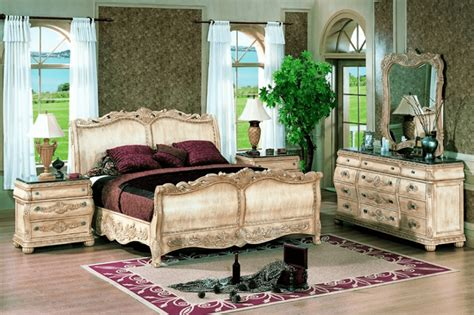 bedroom set with marble top antoinette white leather bed traditional bedroom set w