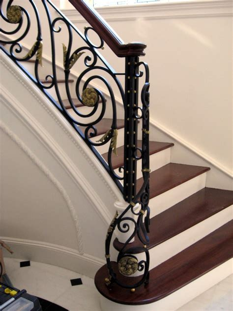 Home Design Contents Restoration by Wrought Iron Custom Railing With Bronze Medallions Balls