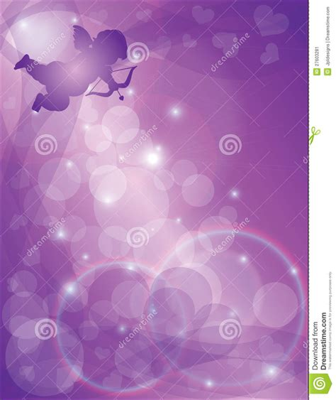 valentines day cupid with purple hearts background stock