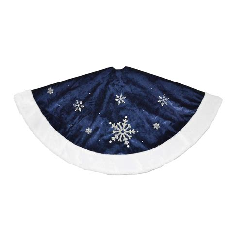 trimming traditions 48 quot snowflake velvet tree skirt blue