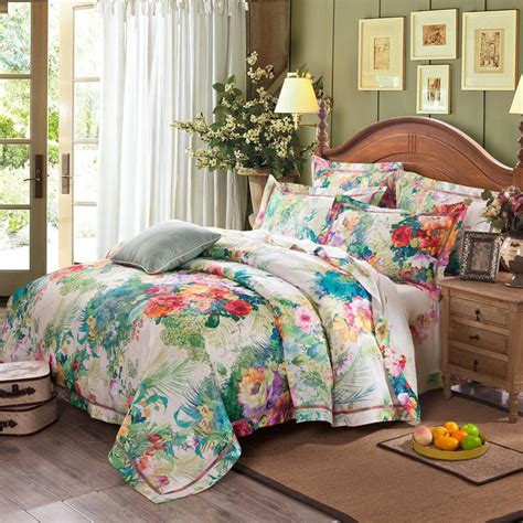 Hawaiian Bed Set Light Blue Green And Colorful Traditional Tropical Hawaiian Floral Print 100 Cotton