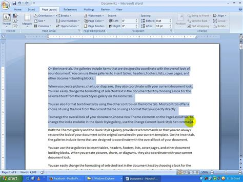 microsoft word page layout default ms word 2007 in telugu page layout group and arrange group