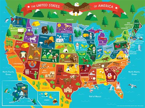 map world mouments map of the united states of america map vector