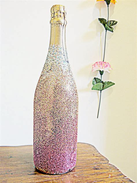 How To Decorate A Bottle With Glitter by Hunted And Made Diy Ombre Glitter Chagne Bottle How