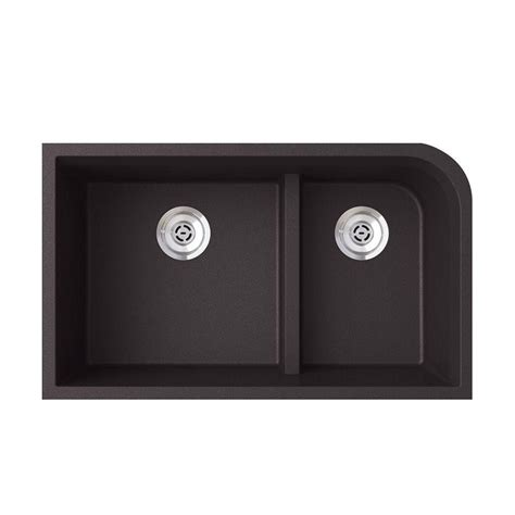 low divide drop in kitchen 32 quot undermount granite low divide double bowl kitchen sink