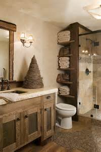 beautiful rustic bathroom designs with found wood pebble