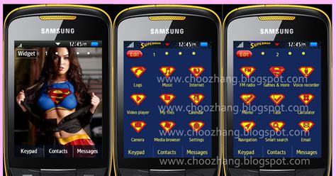 samsung mobile themes gt s3850 choozhang corby cat samsung corby 2 or s3850 superman