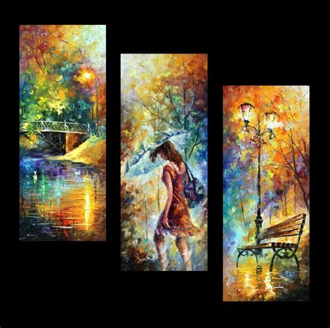 painting work aura of autumn set of 3 palette knife oil painting on