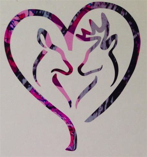 deer heart doe buck vinyl decal 5 quot camo pink blue muddy