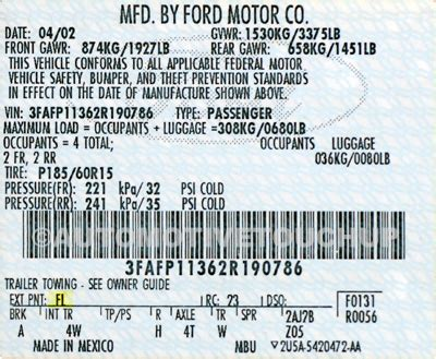 ford paint code locations touch  paint automotivetouchup