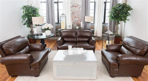 Charleston Leather Sofa Elements Home Furnishings Charleston 3 Top Grain Leather Sofa Set Chr 3pc L Sc Sc