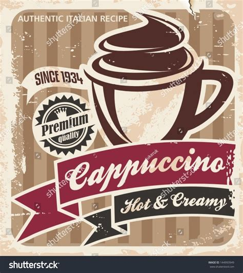 Poster Dinding Dekorasi Bar Coffee Cafe vintage cappuccino poster coffee cup on stock vector 144993949