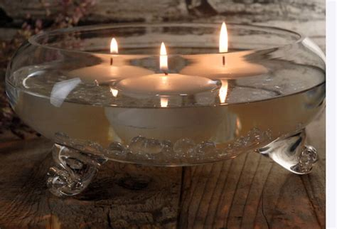 Floating Candle Bowl Footed Glass Bowl 9in