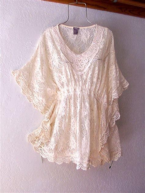 Blouse Boho Ribbon new ivory vintage crochet lace peasant blouse kimono boho