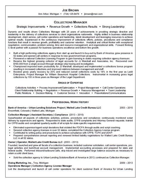 Collections Resume by Collection Manager Resume Resumes