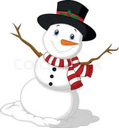 Vector illustration of christmas snowman cartoon wearing a hat and red