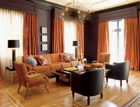 burnt orange and brown living room autumn inspired interior design