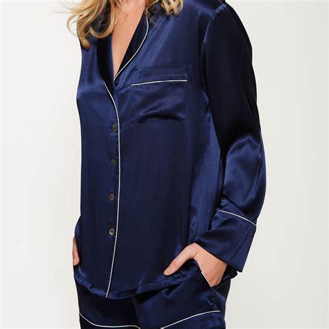 Piyama Navy navy silk pyjama set by silk grey