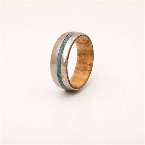 titanium turquoise wood wedding ring mens titanium and turquoise wedding band wood ring olive