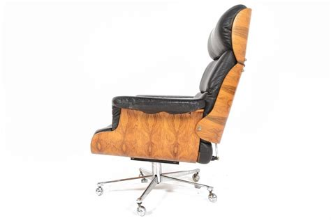 Martin Stoll Rosewood And Leather Swivel Chair With Leather Swivel Chair And Ottoman