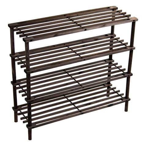 shoe storage stand 4 tier slated shoe rack oak wooden storage stand organiser
