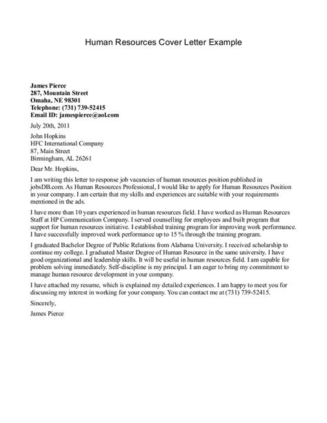 human resources cover letter exles cover letter exle for a human resources writing