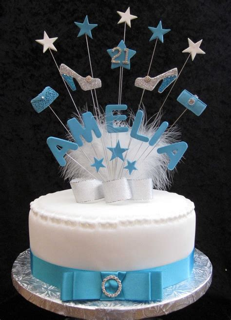 personalised bag  shoes birthday cake topper blue silver    age handmade cake