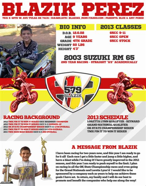 Motocross Sponsorship Mxm Nation Mx Sponsorship Resume Template