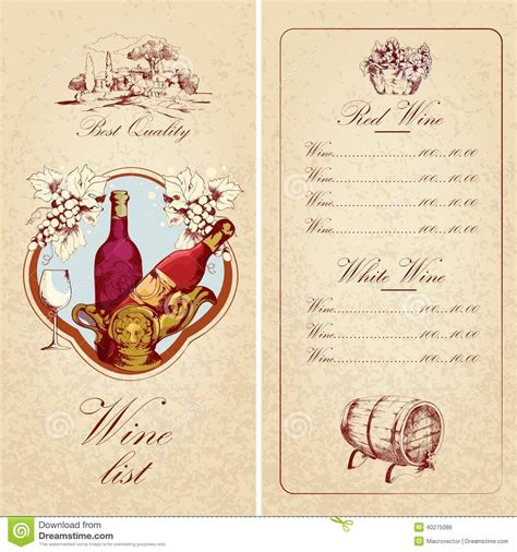 vintage menu card template wine list template stock vector illustration of green