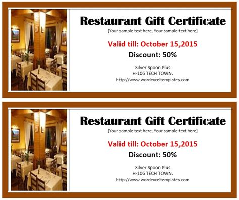 printable gift certificates for restaurants 13 free sle restaurant voucher templates printable