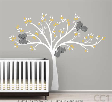 Modern Nursery Wall Decals Koala Tree Wall Decal Modern Baby Nursery Decor Sleepy Koalas Hanging From A Beautiful Tree Wall