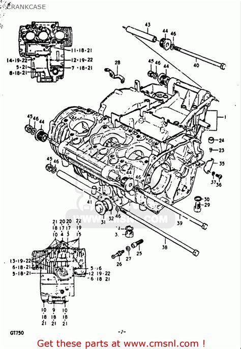 Suzuki Gt750 Parts List Suzuki Gt750 1972 J Usa E03 Crankcase Schematic