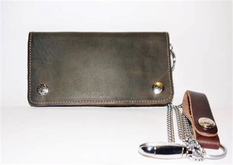 Handmade Leather Biker Wallets - quality leather handmade biker wallet with chain and