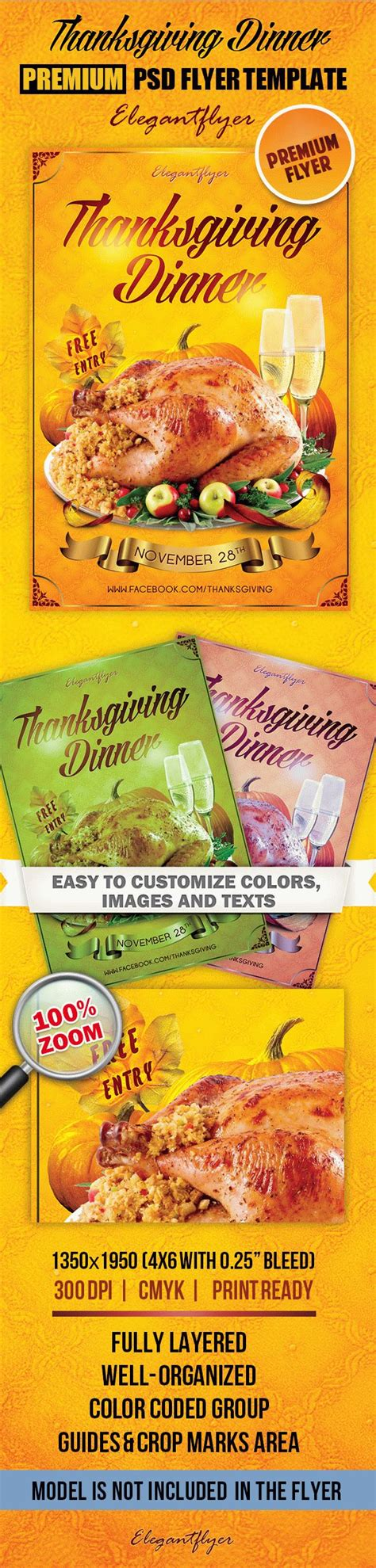 thanksgiving card template psd thanksgiving dinner design flyer by elegantflyer