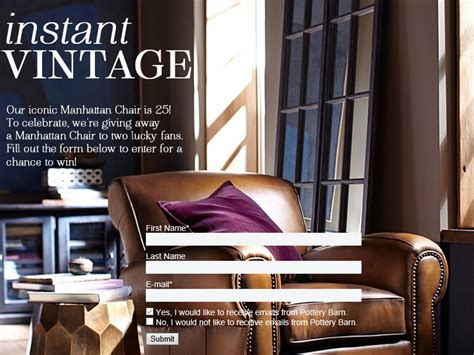 Pottery Barn Sweepstakes - pottery barn manhattan chair giveaway sweepstakes fanatics