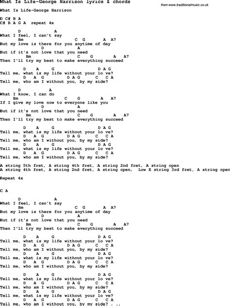 what is the lifespan of a song lyrics for what is george harrison with chords