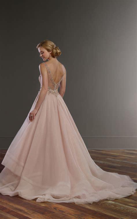 beading a wedding dress pink wedding dress with rose gold beading martina liana
