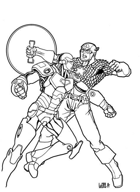 captain america and ironman coloring page captain america vs iron man by matarael on deviantart