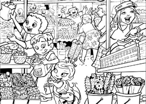 market coloring pages coloring page for kids