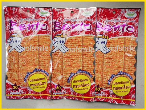 Thailand Bento Squid Seafood Snack 3x28g bento sweet spicy squid seafood snack product of