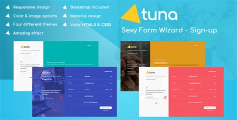 tuna form wizard signup login reservation and