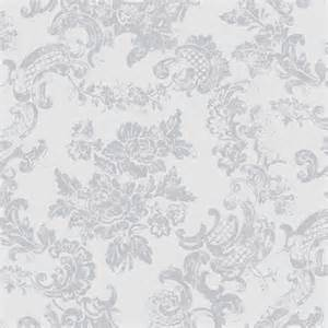 Black Bird Wall Stickers coloroll vintage lace wallpaper dove grey m0755